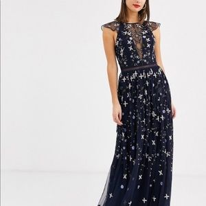 Asos Tall sz 4 Embroidered Floral Sequined dress